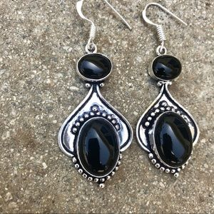 Jewelry - 🔥 sterling silver black onyx EARRINGS dangle drop